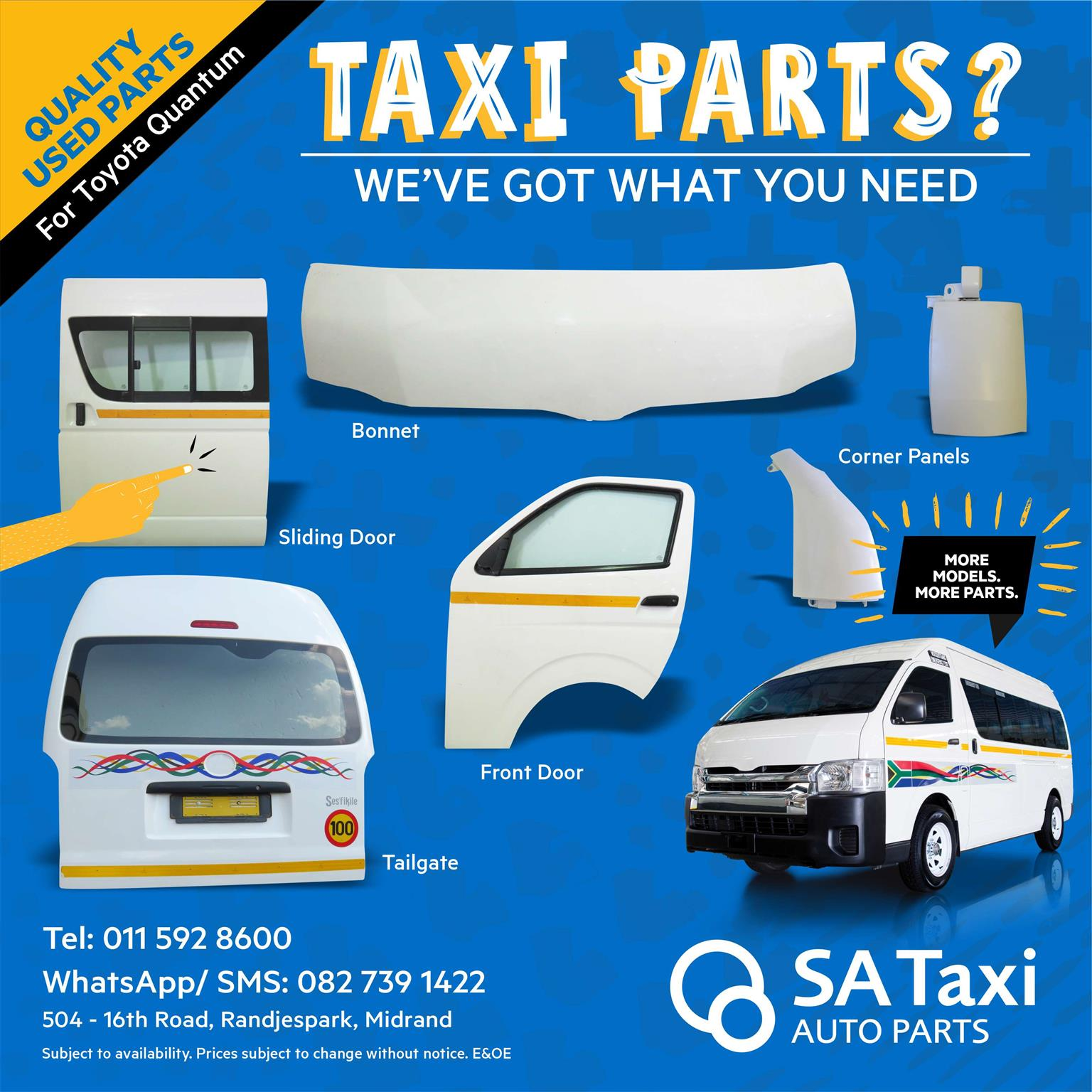 Complete Front Door suitable for Toyota Quantum - SA Taxi Auto Parts quality USED spares