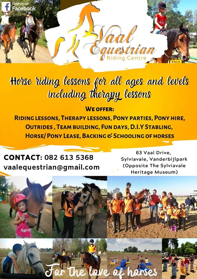 Horse riding lessons, therapy and stabling in Vanderbijlpark