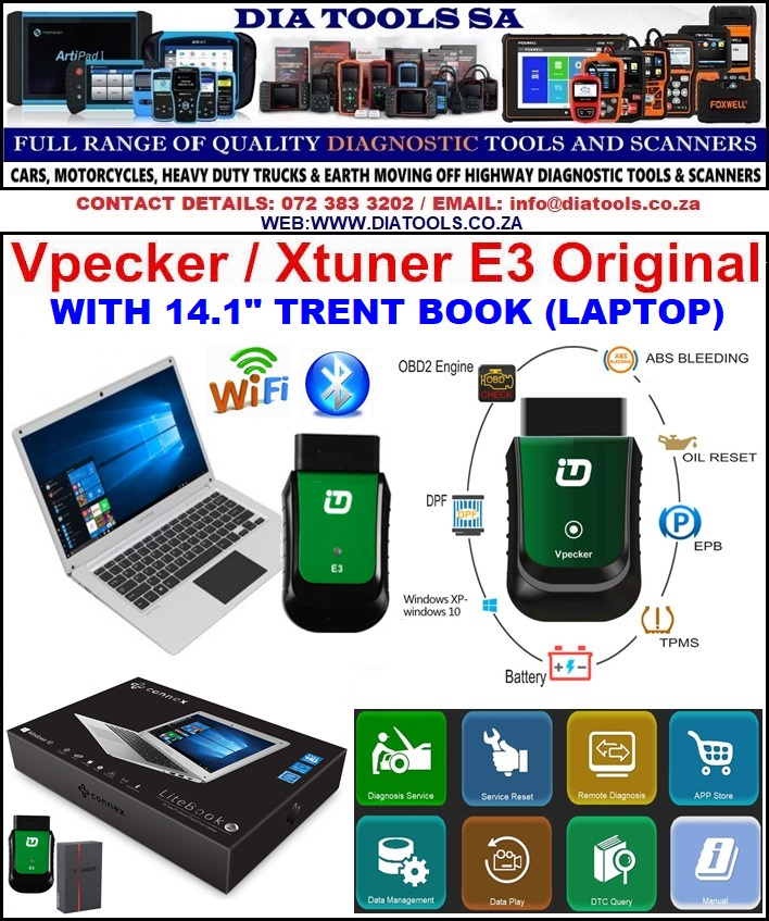 XTUNER E3 Full OBDII Diagnostic Tool with Laptop software installed