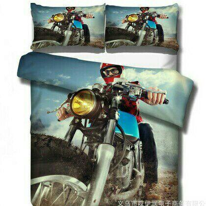 3D Bike Double Duvet Cover Set