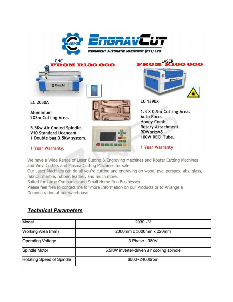 Laser Cutting & Engraving Machines and Router Cutting Machines