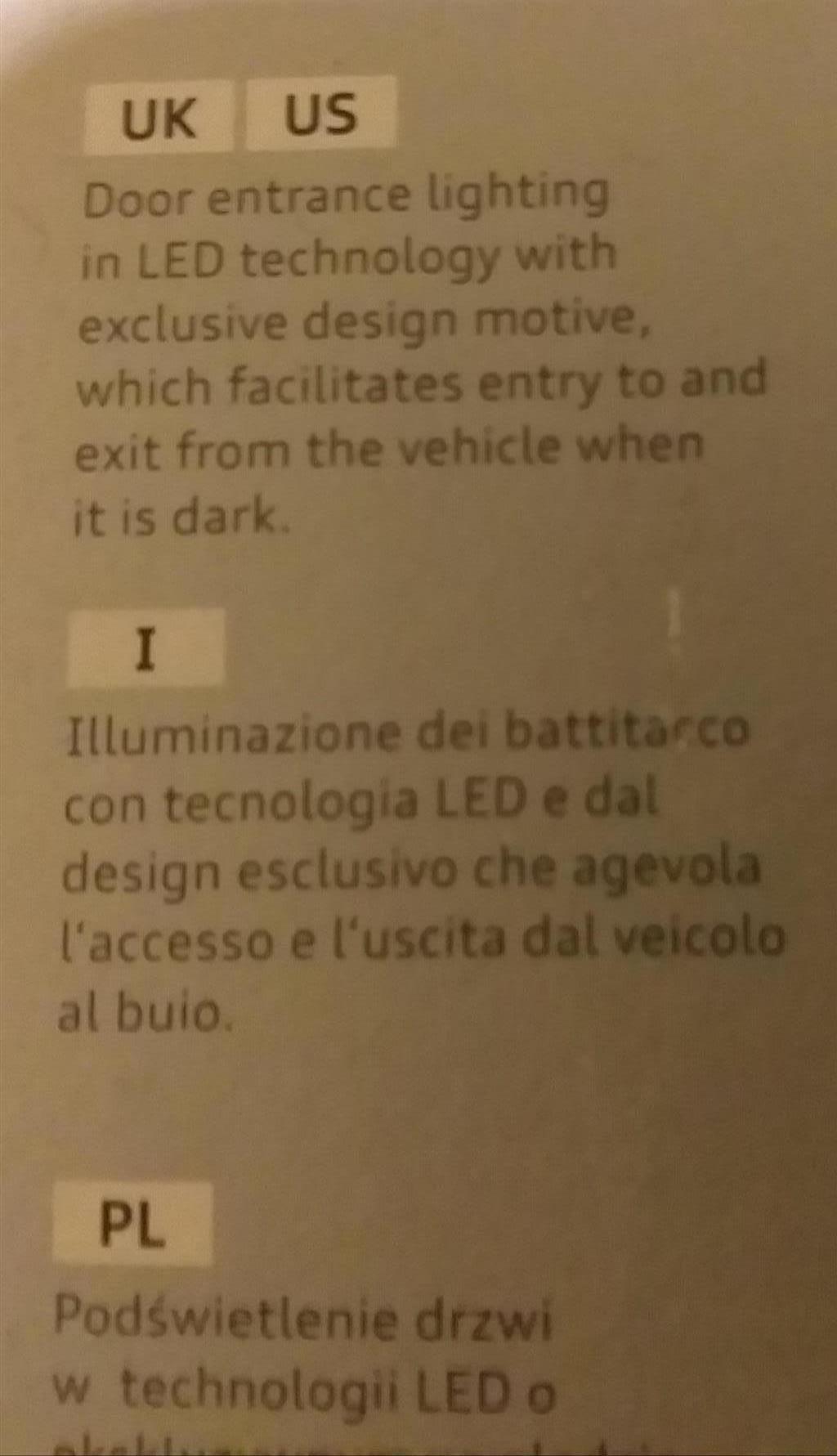 Audi Q3/A3/A6/TT/A4/Q5/A8 LED original entrance lights (8 pairs)