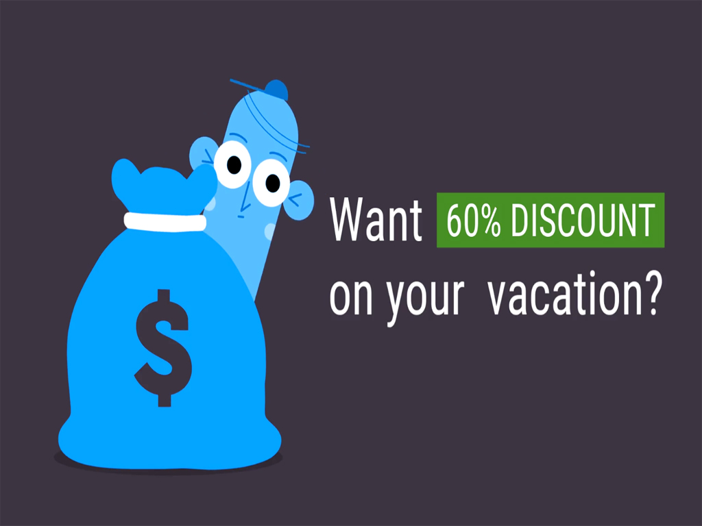 Have 60% off your next holiday!