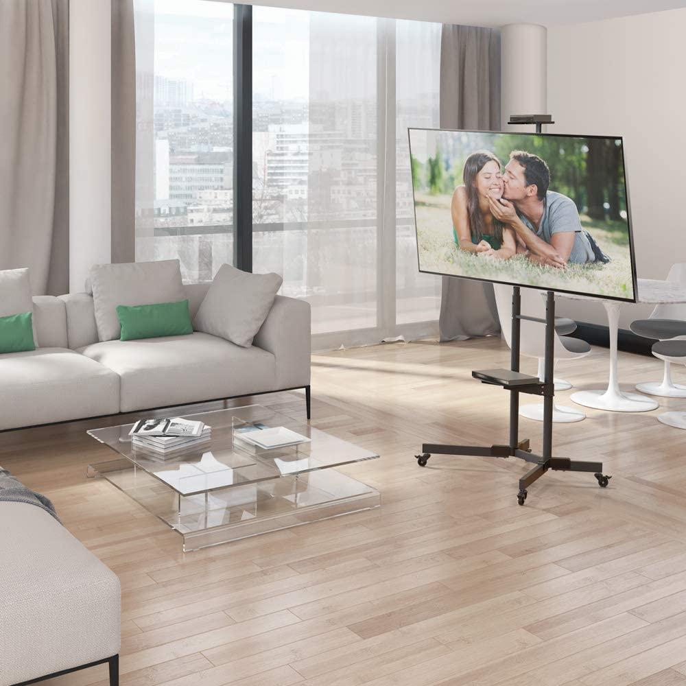 Mobile TV Trolley Tilt, Vertical Adjustment Stand Cart With Wheels And Shelves.