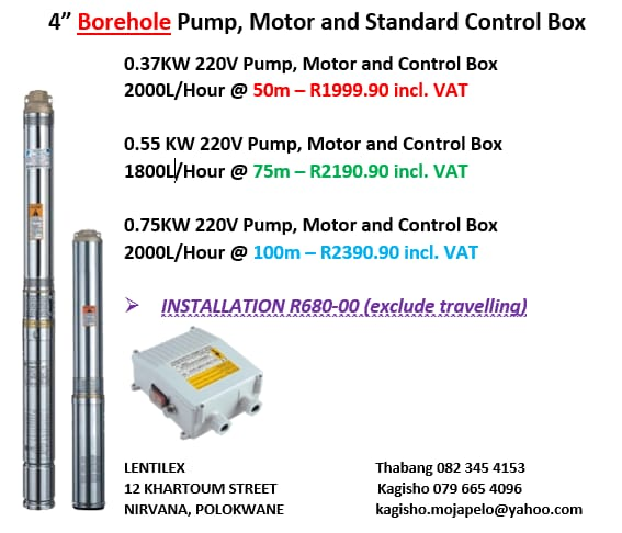 BOREHOLE PUMP MOTOR AND CONTROL
