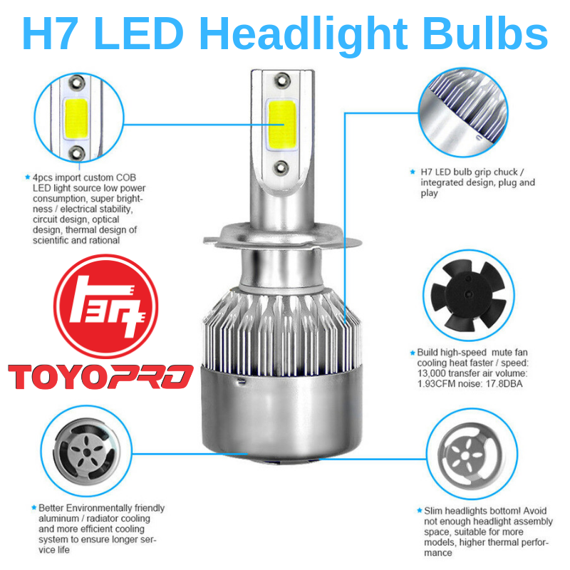 Light Cold H7 Head Led White Car Lamp 6000k Bulb 2pcs C6 Headlight 36w OnPk0w