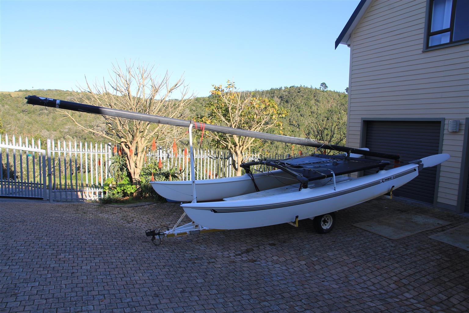 Hobie 16 catamaran on licensed trailer