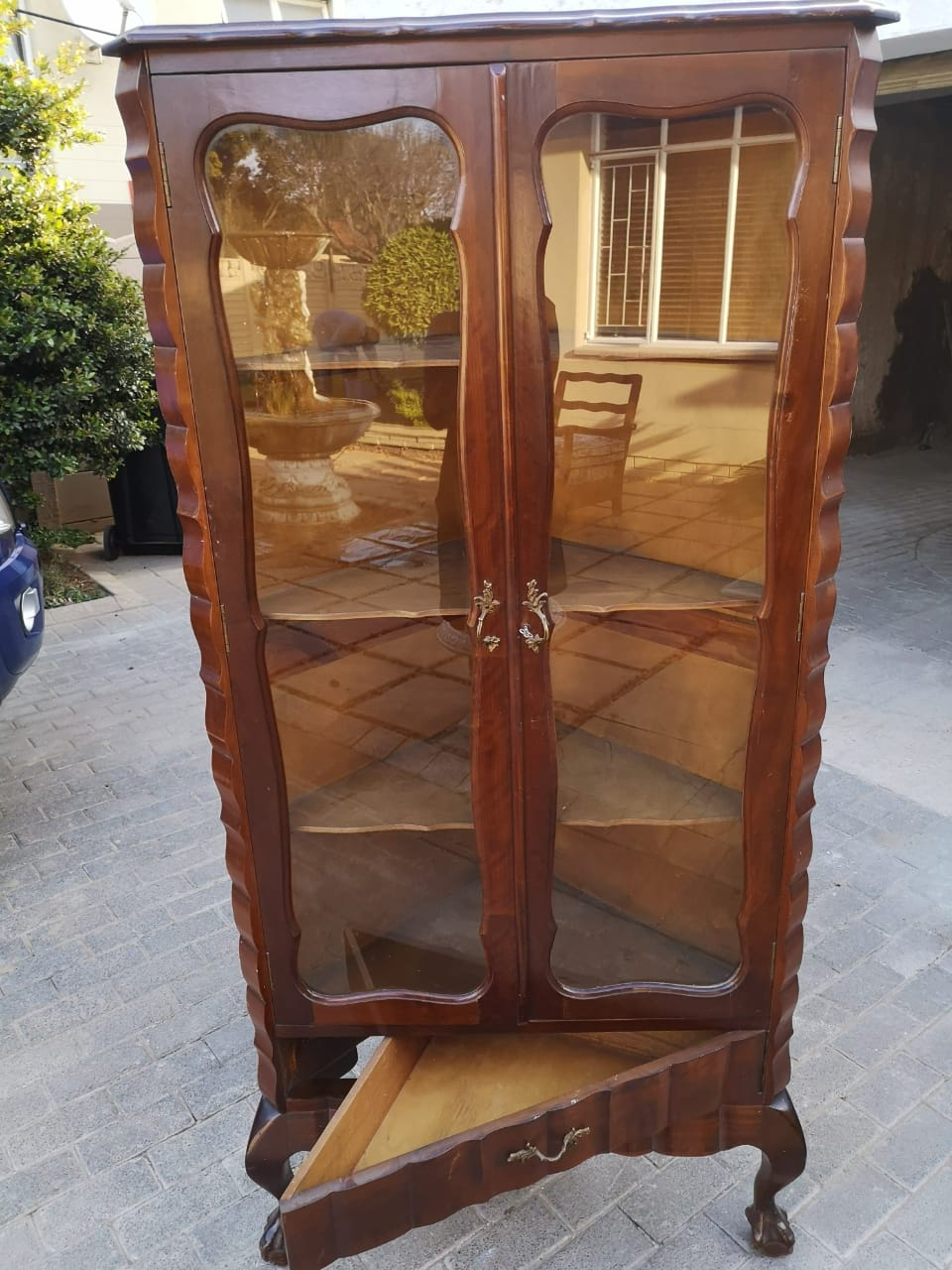 Antique embuia Ball and claw  corner unit with drawer