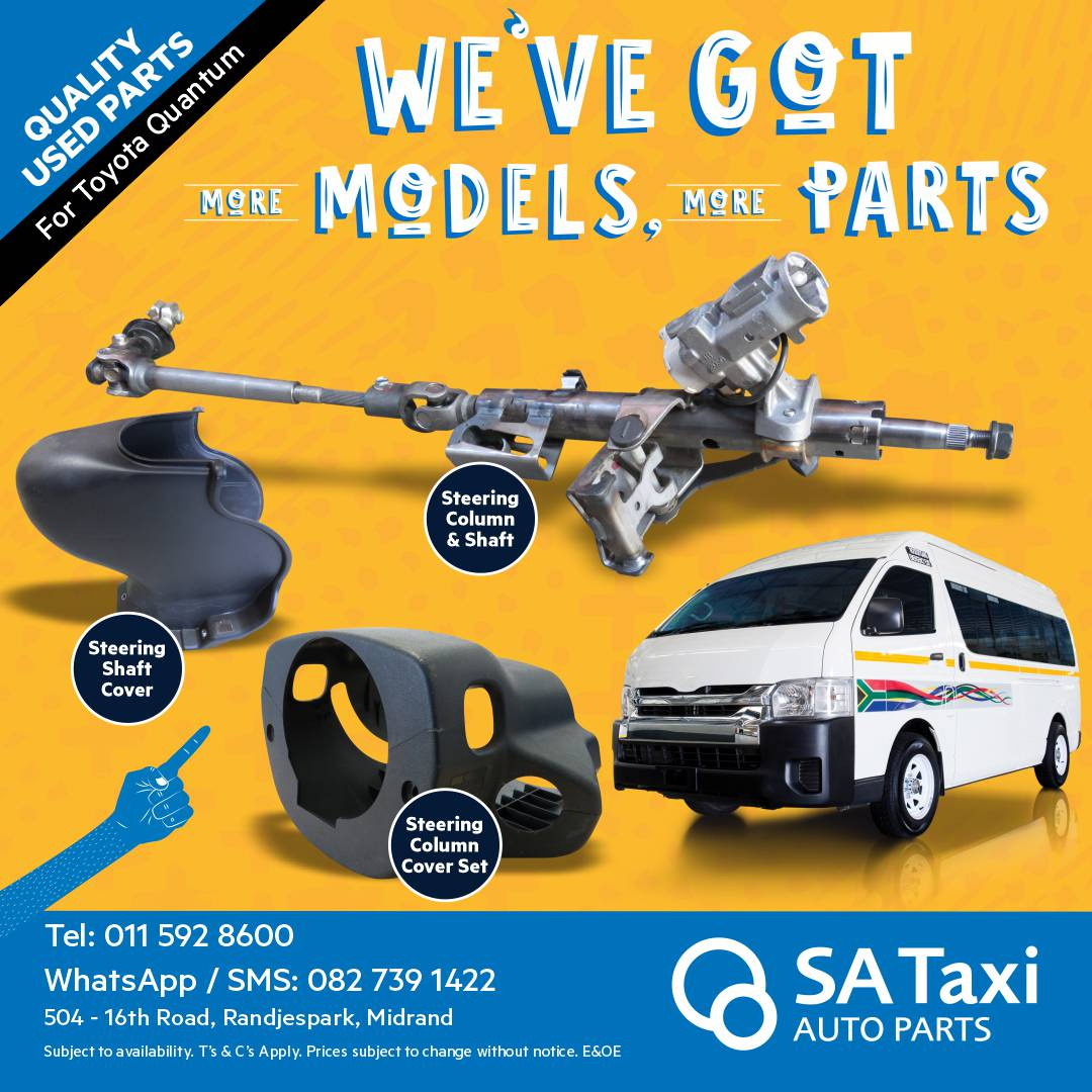 Steering Column, Shaft and Covers suitable for Toyota Quantum - SA Taxi Auto Parts quality used spares