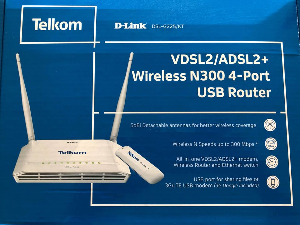 D-Link VDSL2/ ADSL2+ Wireless N300 4-Port USB Router