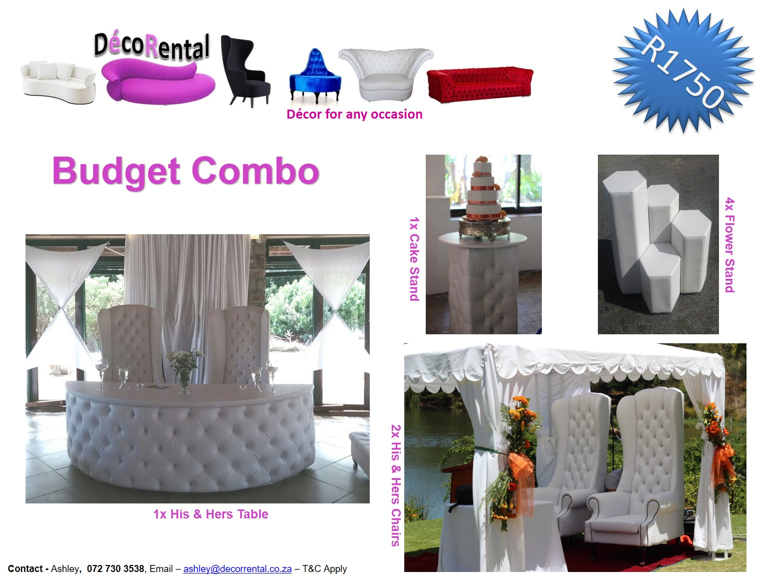 Wedding hire bride and groom chairs furniture hire