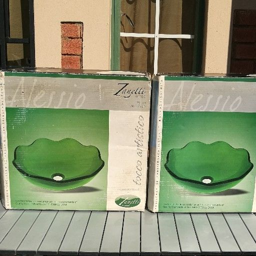 2 x Sea Green vanity wash Basins Brand New