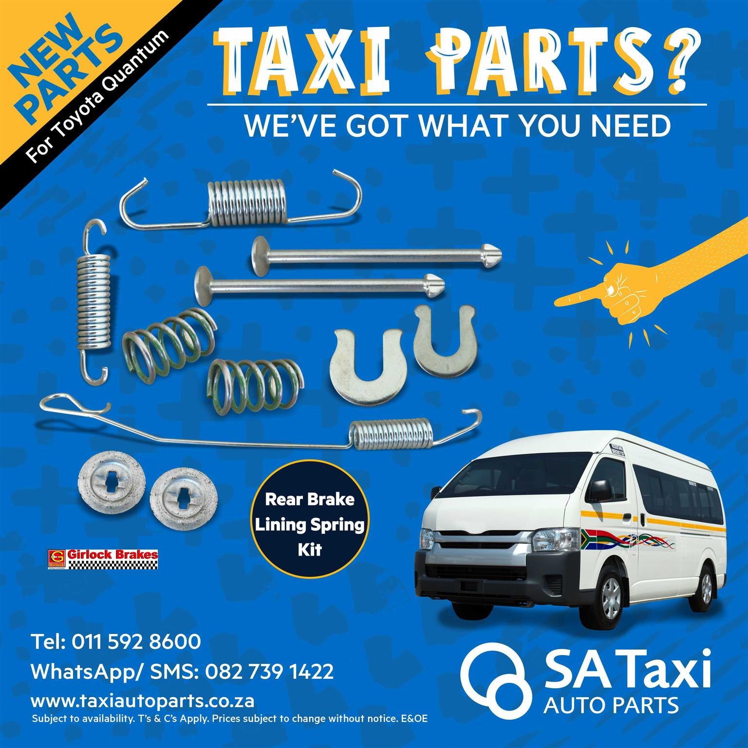 New Girlock Rear Brake Lining Spring Kit suitable for Toyota Quantum - SA Taxi Auto Parts