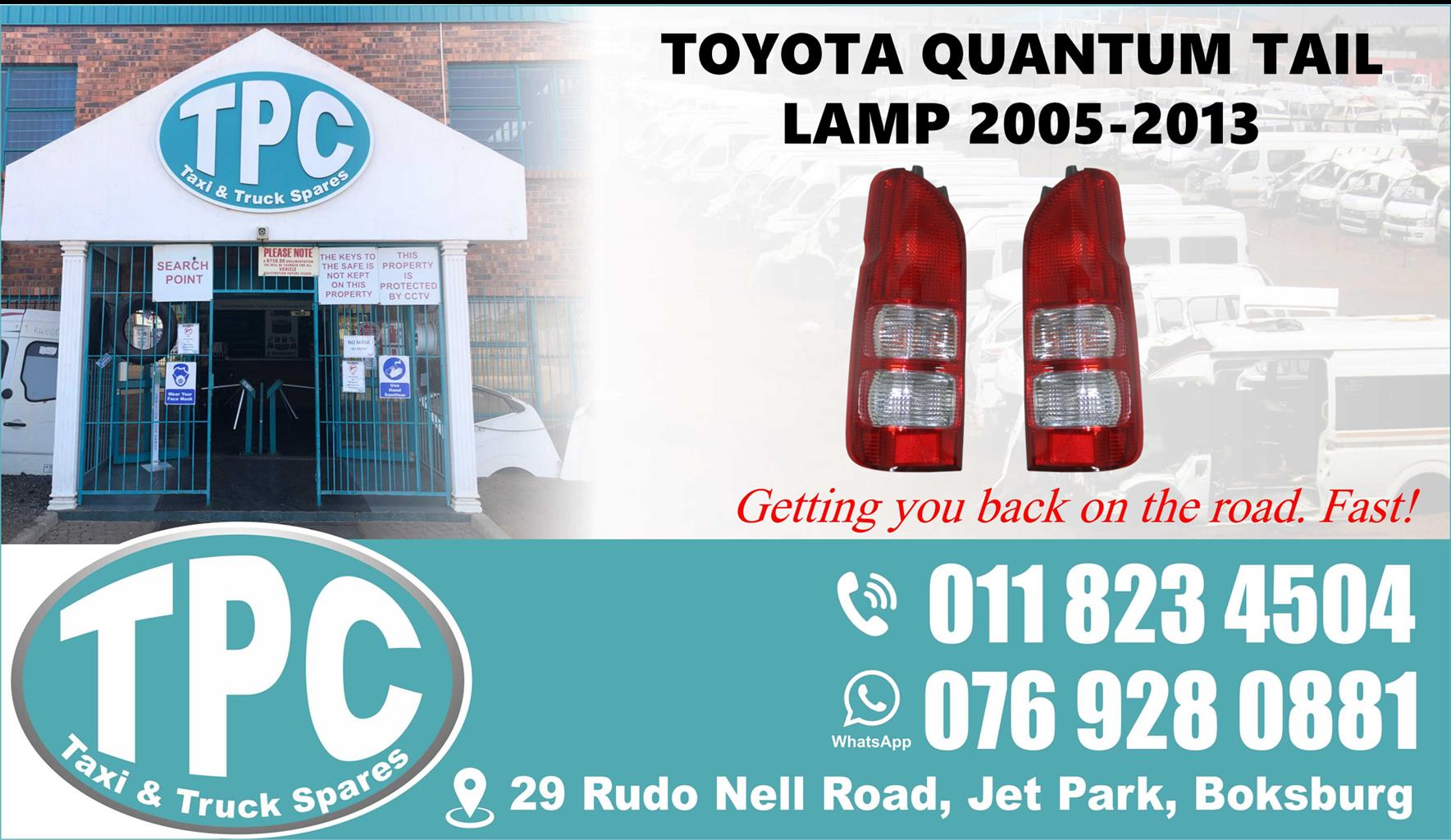 Toyota Quantum Tail Lamp - 2005-2013 - For Sale at TPC