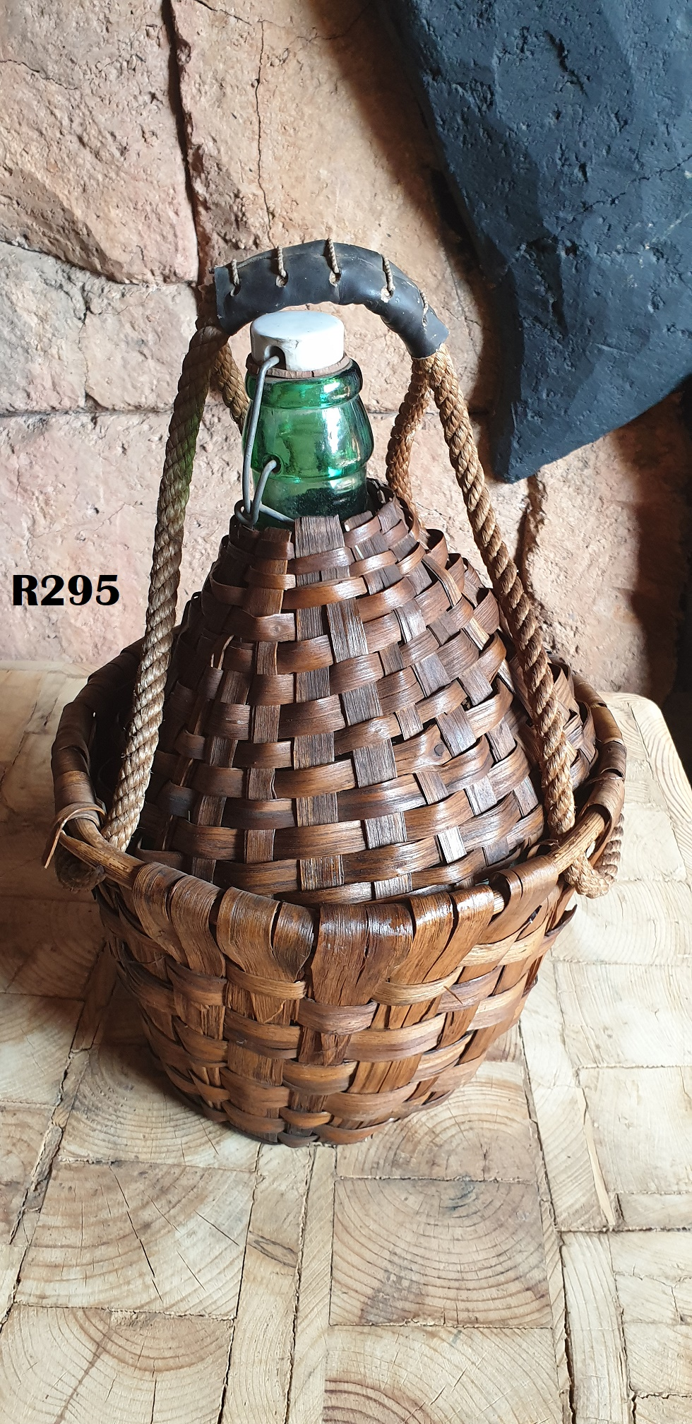 Rare Vintage Large Green Glass Wine Jug with Wicker Basket Covering