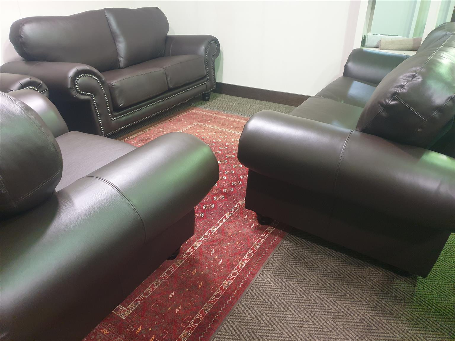 100% genuine full leather 321 lounge suite WAS R 37495 NOW R 34995