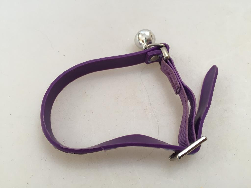 """Funky purple """"Cat's Life"""" collar with bell"""