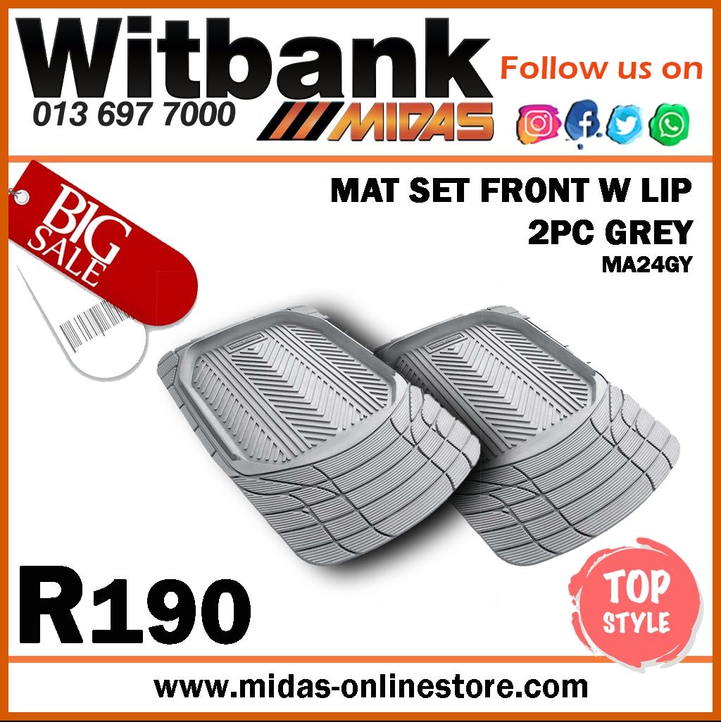 Mat Set Front W Lip 2PC Grey at Midas Witbank!