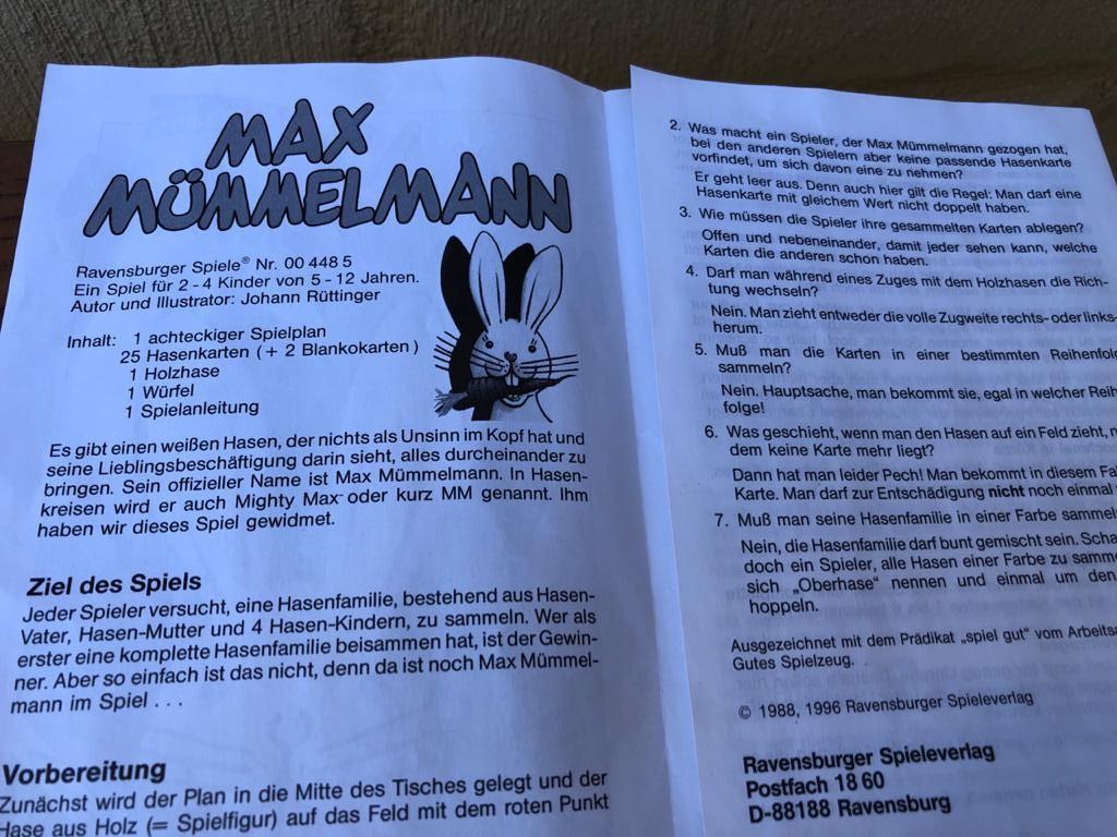 Spielanleitung Max Mümmelmann