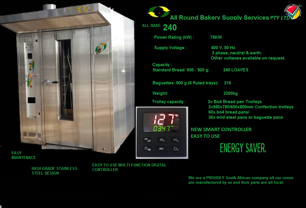 ALL BAKE 240 LOAF ROTARY OVEN ELECTRIC