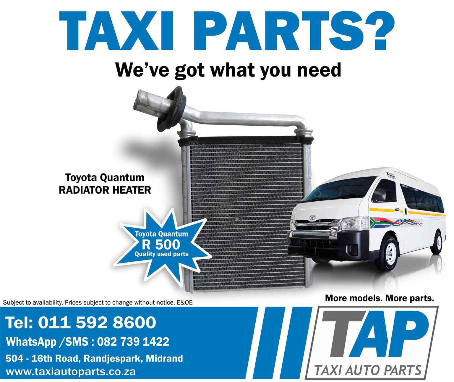 Toyota Quantum RADIATOR HEATER quality used taxi spares - Taxi Auto ...