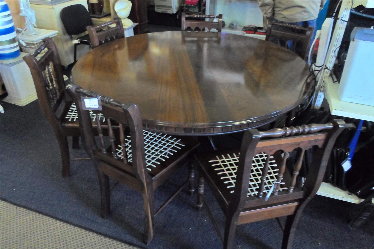 Wooden Dining Room Suite + 6 Chairs - B033043939-2