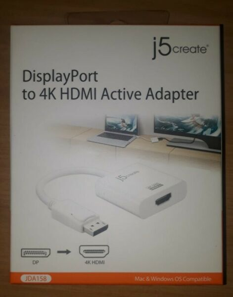 J5create JDA158 DisplayPort to HDMi(4K) adapter 125mm White Cable   Junk  Mail
