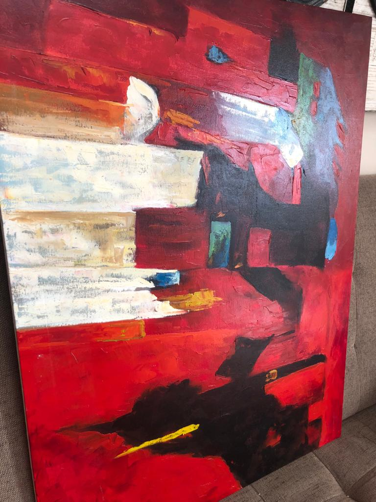 Abstract Oil on board - Striking and powerful