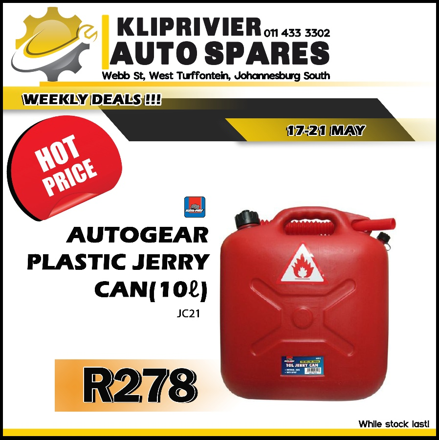 AutoGear Plastic Jerry Can 10L ONLY at Kliprivier AUTO Spares!
