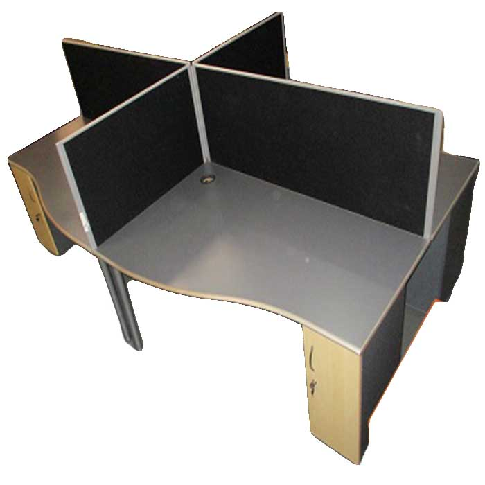 Used office 4 way cluster desk with cabinet & dividers
