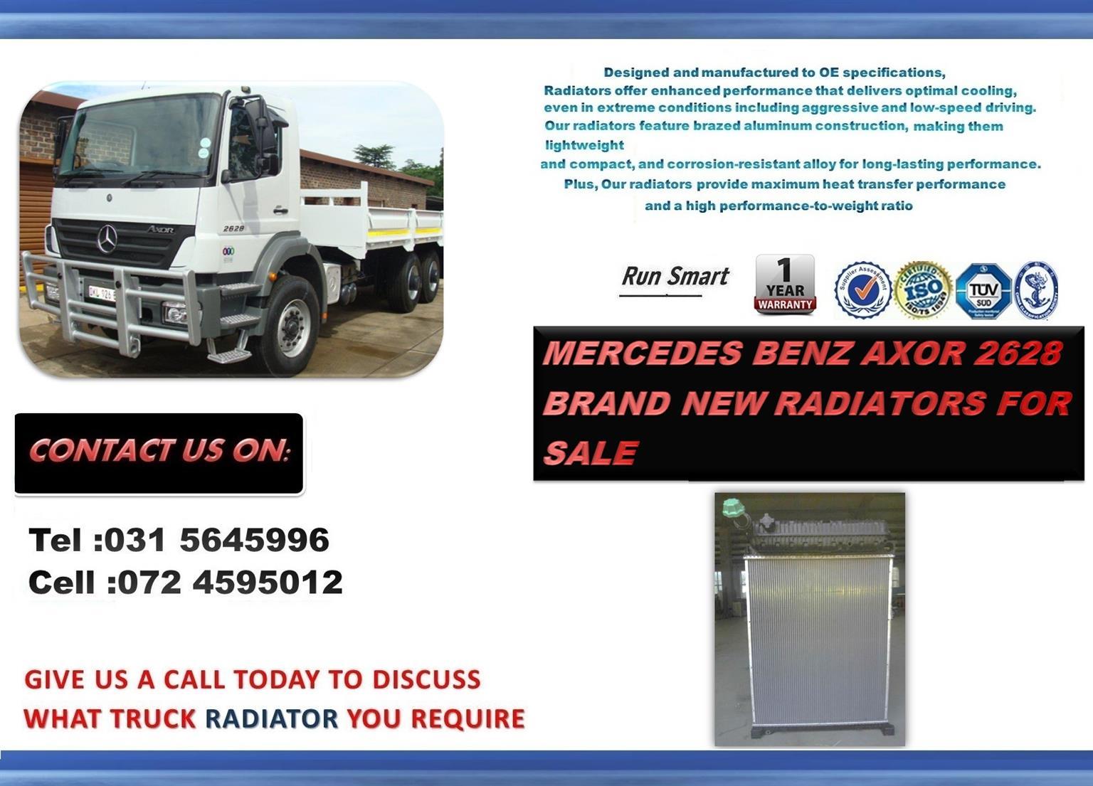 MERCEDES BENZ 2628 AXOR BRAND NEW RADIATORS FOR SALE PRICE: R10 000