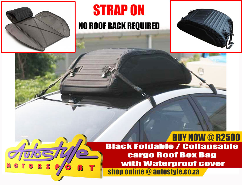 Black Foldable - Collapsable cargo Roof Box Bag with Waterproof cover