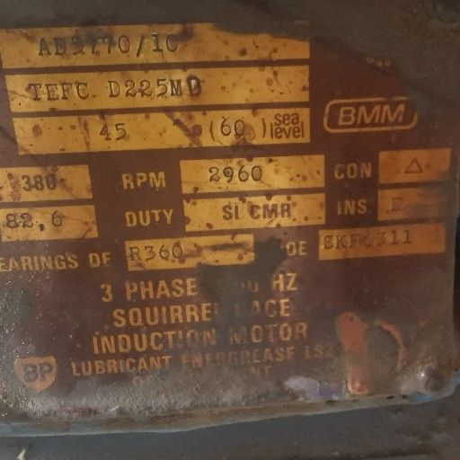 MOTOR 3-PHASE HIGH SPEED 45kW 2900RPM