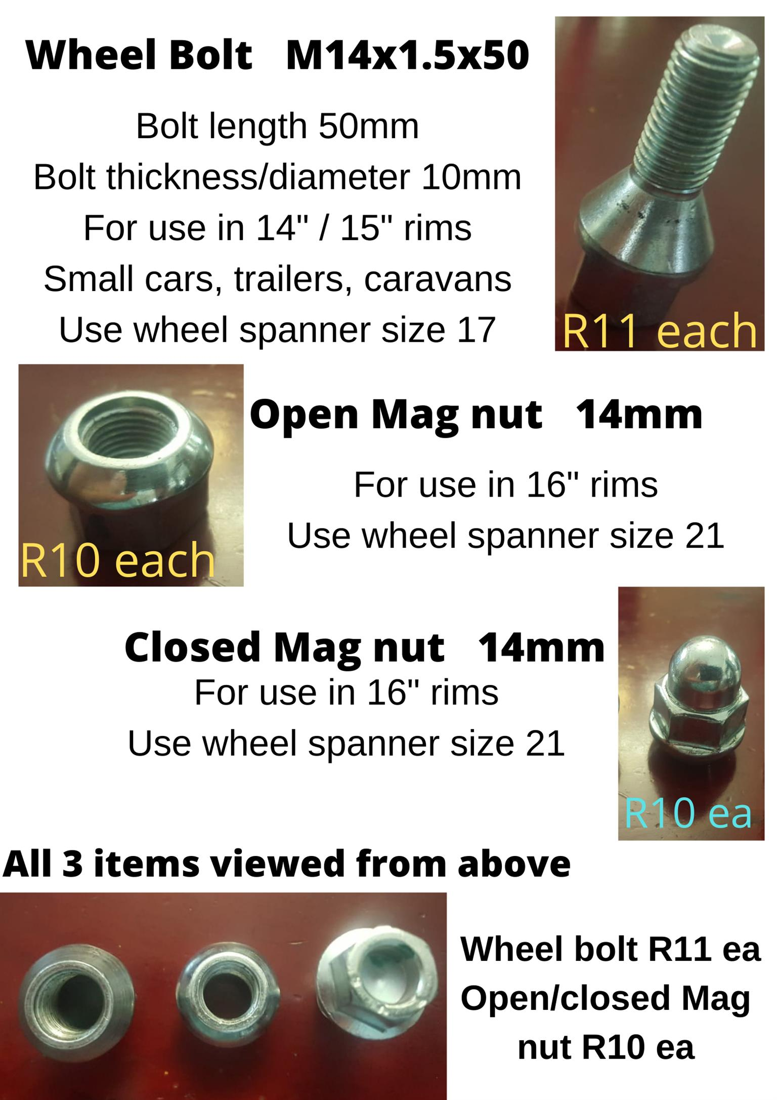 Wheel bolts & open and closed mag nuts