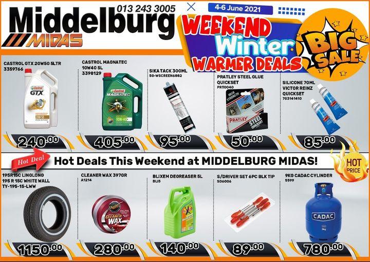 Weekend Winter Warmer Deals at Middelburg Midas -Sparesworld!
