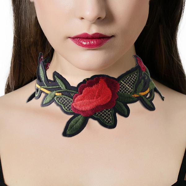 Flower Embroidered Clavicle Collar Choker Necklace