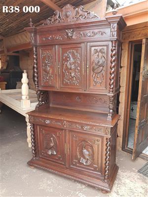 19th Century Black Forest French Oak Hunt Sideboard Dresser with Barley Twist Posts