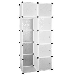 Hazlo 10 Compartment Modular Cubical Home Storage Rack Organizer Holder - White