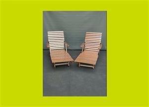 Sun loungers - Rhodesian Teak - Priced individually - SKU 37