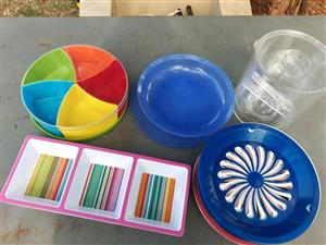 Paper plate holders and snack platter bowls