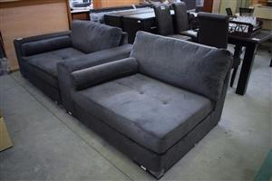 2 Large grey suede loungers