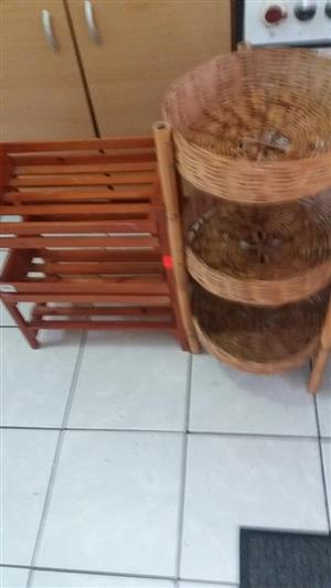 Basket and towel stand both