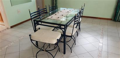 Glass Top 8 Seater Dinning Room Table with matching Chairs