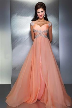 PEACH PROM/WEDDING DRESS