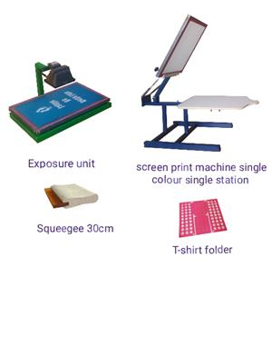Screen print machine 1 Station 1 Colour, Exposure Unit, 30cm wooden Squeegee and T-shirt Folder
