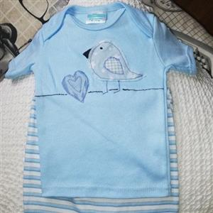 6-12 months baby blue shirt and stripe pants