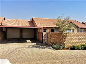 Three bedroom two bathroom with double garage and double carport min security estate. Private garden and pet friendly.