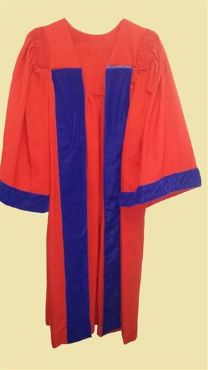 Red Robe with Velvet strips. Doctoral Red Toga with velvet strips