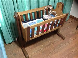 Hand made Hard Wood Baby Crib, used for sale  Alberton