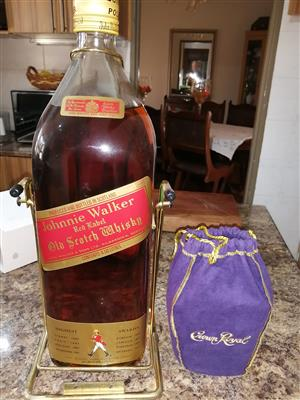COLECTOR ITEMS AS STATED    (1)CROWN ROYAL S/N L8274M WHISKY     (2) RED LABLE JOHNY  WALKER OLD SCHOTS WISKY 4.5L